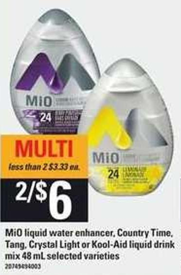 Mio Liquid Water Enhancer - Country Time - Tang - Crystal Light Or Kool-aid Liquid Drink Mix - 48 mL