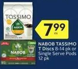 Nabob Tassimo T Discs 8-14 Pk or Single Serve Pods 12 Pk