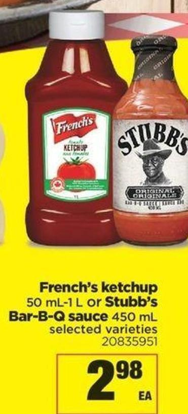 French's Ketchup 50 Ml-1 L Or Stubb's Bar-b-q Sauce 450 Ml