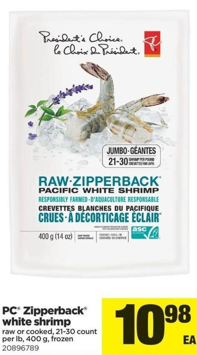 PC Zipperback White Shrimp - 21-30 Count Per Lb - 400 g