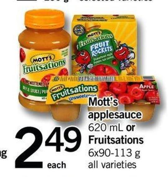 Mott's Applesauce - 620 Ml Or Fruitsations - 6x90-113 G