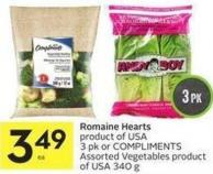 Romaine Hearts Product of USA 3 Pk or Compliments Assorted Vegetables Product of USA 340 g