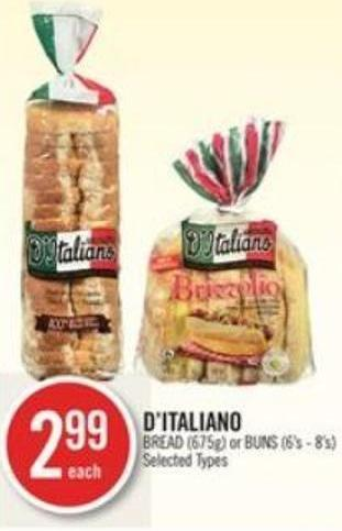 D'italiano Bread (675g) or Buns (6's - 8's)