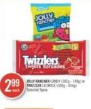 Jolly Rancher Candy (182g - 198g) or Twizzler Licorice (300g - 454g)