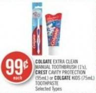 Colgate Extra Clean Manual Toothbrush (1's) - Crest Cavity Protection (95ml) or Colgate Kids (75ml) Toothpaste