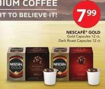 Nescafé Gold Gold Capsules - 12 Ct Or Dark Roast Capsules - 12 Ct
