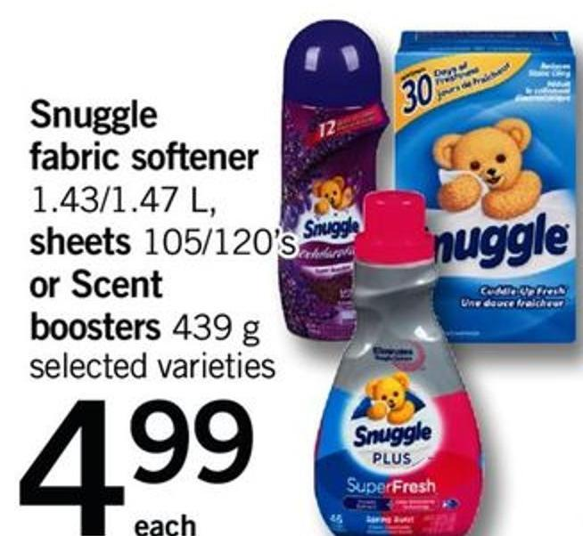 Snuggle Fabric Softener - 1.43/1.47 L - Sheets - 105/120's Or Scent Boosters - 439 G