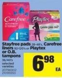 Stayfree Pads 28-48's - Carefree Liners 92-120's Or Playtex Or O.b. Tampons 36/40's