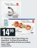 PC Gigantico Black Tiger Shrimp - Raw Zipperback 16-20 Per Lb Frozen 400 G Or Bacon Wrapped Nova Scotian Sea Scallops - Frozen - 340 G