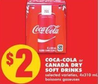Coca-cola Or Canada Dry Soft Drinks - 4x310ml