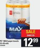 PC Max Paper Towels - 12=18 Rolls