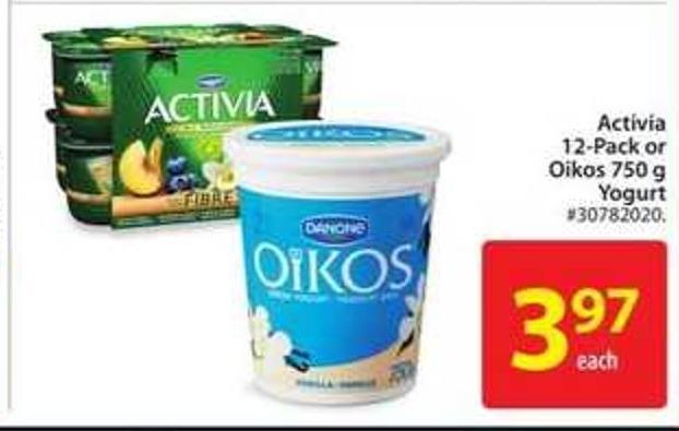 Danone Activia 12-pack or Oikos 750 g Yogurt