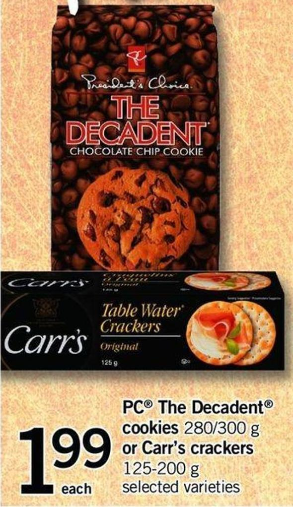 PC The Decadent Cookies 280/300 G Or Carr's Crackers 125-200 G