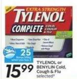 Tylenol or Benylin Cold - Cough & Flu - 25 Air Miles Bonus Miles