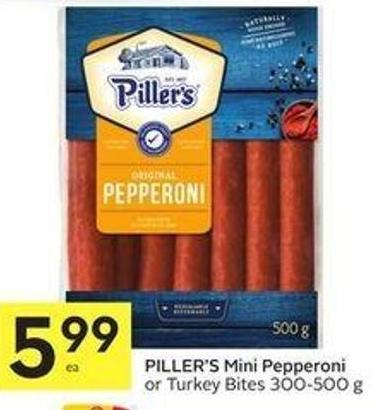 Piller's Mini Pepperoni or Turkey Bites 300-500 g