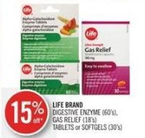 Life Brand  Digestive Enzyme (60's) - Gas Relief (18's) Tablets or Softgels (30's)