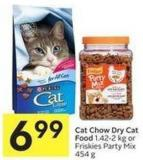 Cat Chow Dry Cat Food 1.42-2 Kg or Friskies Party Mix 454 g