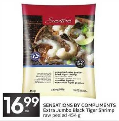 Sensations By Compliments Extra Jumbo Black Tiger Shrimp