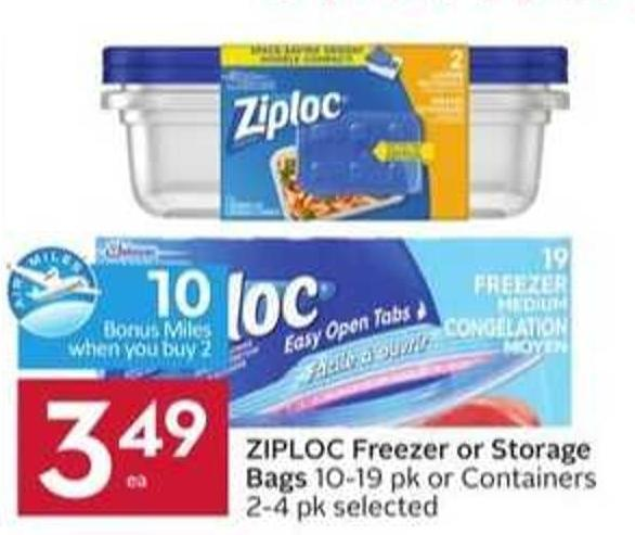 Ziploc Freezer or Storage Bags - 10 Air Miles Bonus Miles