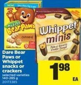 Dare Bear Paws Or Whippet Snacks Or Crackers - 140-285 G