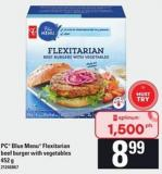 PC Blue Menu Flexitarian Beef Burger With Vegetables - 452 G