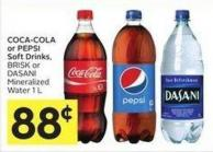 Coca-cola or Pepsi Soft Drinks - Brisk or Dasani Mineralized Water 1 L