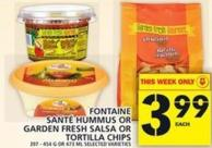 Fontaine Santé Hummus Or Garden Fresh Salsa Or Tortilla Chips