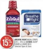 Breathe Right Nasal Strips (26's - 30's) or Zzzquil Sleep Liquid or Liquid Gels