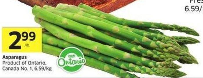 Asparagus Product of Ontario Canada No. 1 6.59/kg