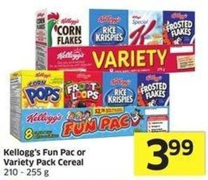 Kellogg's Fun Pac or Variety Pack Cereal 210 - 255 g