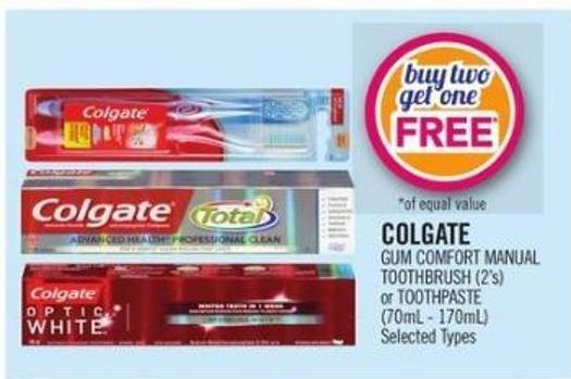 Colgate GUM Comfort Manual Toothbrush (2's) or Toothpaste (70ml - 170ml)