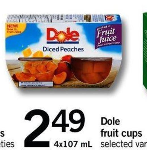 Dole Fruit Cups - 4x107 Ml