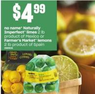 No Name Naturally Imperfect Limes - 2 Lb Or Farmer's Market Lemons - 2 Lb