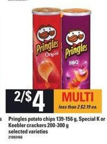 Pringles Potato Chips - 139-156 G - Special K Or Keebler Crackers - 200-300 G