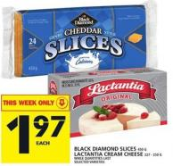 Black Diamond Slices Or Lactantia Cream Cheese