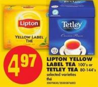 Lipton Yellow Label Tea - 100's or Tetley Tea - 80-144's