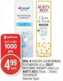 Oral-b Healthy Clean Manual Toothbrush (4's) - Crest Whitening Therapy (90ml) or Burt's Bees (95ml - 105ml) Toothpaste