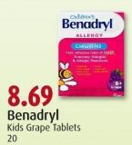 Benadryl Kids Grape Tablets 20
