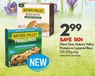 Fibre One - Nature Valley  Protein or Layered Bars 125-210g Pkg