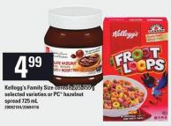 Kellogg's Family Size Cereals 515-755 G Or PC Hazelnut Spread 725 Ml