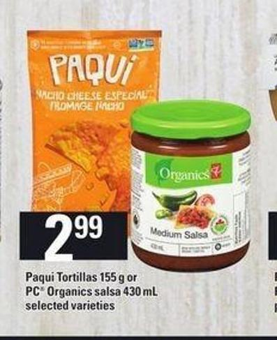 Paqui Tortillas - 155 g Or PC Organics Salsa - 430 mL
