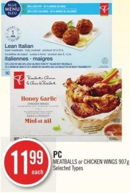 PC Meatballs or Chicken Wings (907g)