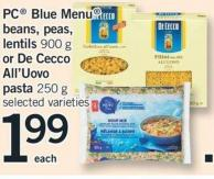 PC Blue Menu Beans - Peas - Lentils 900 G Or De Cecco All'uovo Pasta 250 G