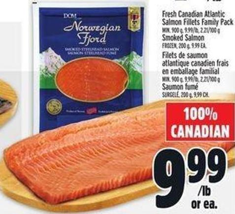 Fresh Canadian Atlantic Salmon Fillets Family Pack