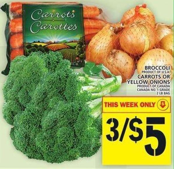 Broccoli Or Carrots Or Yellow Onions