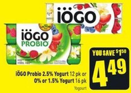 Iögo Probio 2.5% Yogurt 12 Pk or O% or 1.5% Yogurt 16 Pk