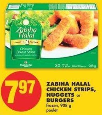 Zabiha Halal Chicken Strips - Nuggets Or Burgers - 908 G