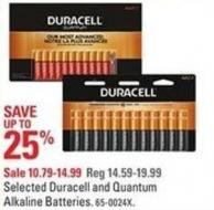 Selected Duracell and Quantum Alkaline Batteries