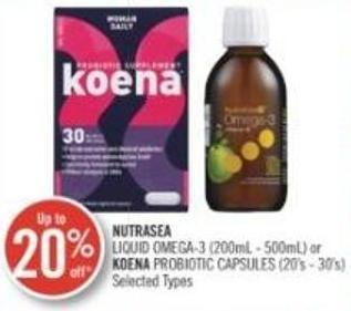 Nutrasea Liquid Omega-3 (200 Ml- 500ml) or Koena Probiotic Capsules (20's- 30's)