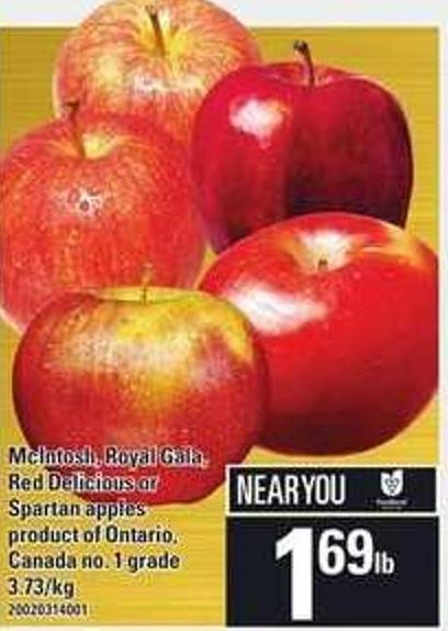 Mcintosh - Royal Gala - Red Delicious Or Spartan Apples